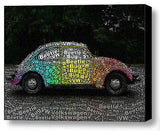 Volkswagen VW Bug Beetle Word Mosaic wild Framed 9X11 Limited Edition Art w/COA , Volkswagen - n/a, Final Score Products