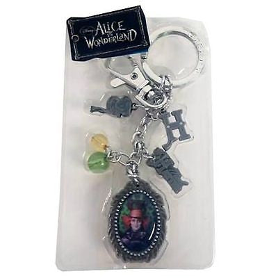Tim Burton Alice in Wonderland Johnny Depp Mad Hatter Pewter Charms Key Chain , Keyrings - n/a, Final Score Products