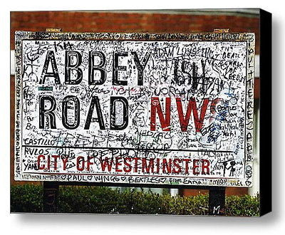 Framed The Beatles Abbey Road Street Sign 9X11 inch