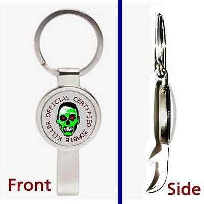 Official Zombie Killer Pennant or Keychain silver tone secret bottle opener
