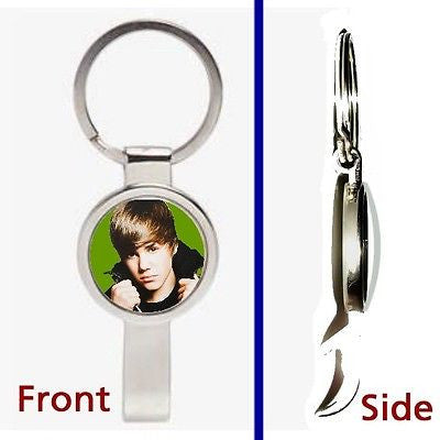Justin Bieber Pennant or Keychain silver tone secret bottle opener , Other - n/a, Final Score Products