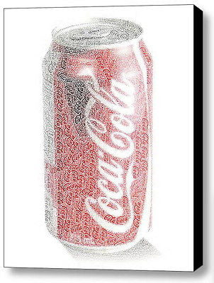 Coca-Cola Coke Can Word Mosaic INCREDIBLE Framed 9X11 Limited Edition Art w/COA , Other - Coca-Cola, Final Score Products