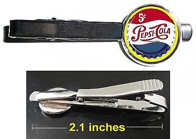 Pepsi Cola retro ad Tie Clip Clasp Bar Slide Silver Metal Shiny