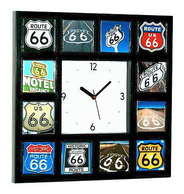 classic historic Route 66 sign Clock with 12 Rt. Sixty Six signs , Signs - n/a, Final Score Products