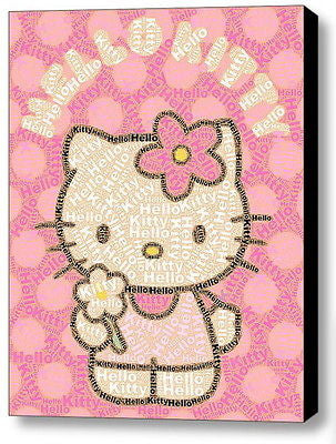 Abstract Hello Kitty Word Mosaic INCREDIBLE Framed 9X11 Limited Edition Art