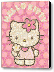 Abstract Hello Kitty Word Mosaic INCREDIBLE Framed 9X11 Limited Edition Art , Hello Kitty - n/a, Final Score Products