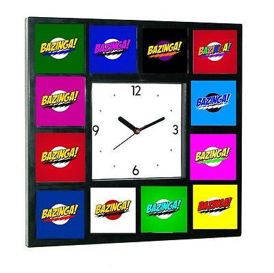 The Big Bang Theory Sheldon Cooper BAZINGA rainbow Clock with 12 pictures , Watches & Clocks - n/a, Final Score Products