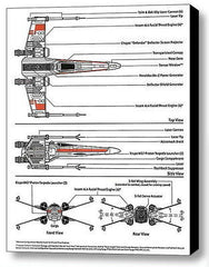 Framed Star Wars X-Wing Fighter 9 X 11 inch Schematic Diagram Plans , Vehicles - n/a, Final Score Products