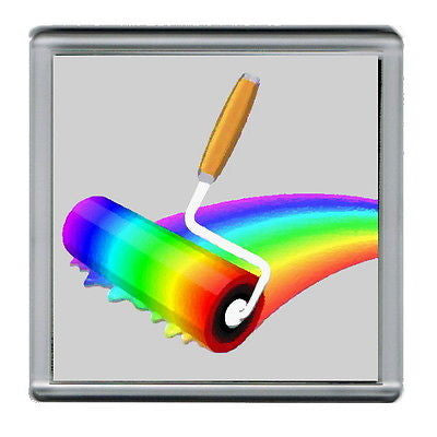 Rainbow Paint Roller Coaster 4 X 4 inches , Coasters - n/a, Final Score Products