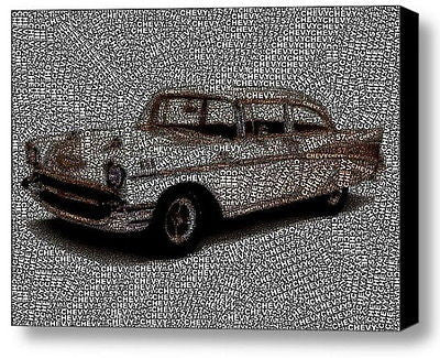 57 Chevy Chevrolet Word Mosaic INCREDIBLE Framed 9X11 Limited Edition Art w/COA , Chevrolet - n/a, Final Score Products