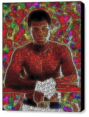 Word Mosaic Muhammad Ali INCREDIBLE Framed 9X11 inch Limited Edition Art w/COA