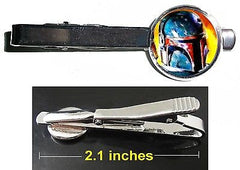 Star Wars Boba Fett Tie Clip Clasp Bar Slide Silver Metal Shiny , Boba Fett - n/a, Final Score Products