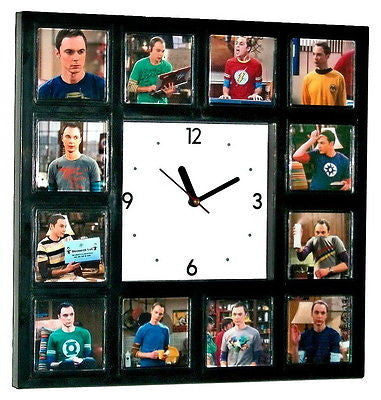The Big Bang Theory Sheldon Cooper and his t-shirts Clock with 12 pictures , Watches & Clocks - n/a, Final Score Products