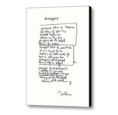 Framed John Lennon facsimile hand written Imagine Signed Lyrics 8.5X11 inchPrint , Lennon, John - n/a, Final Score Products