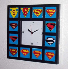 History of Superman S Clock with 12 classic chest emblems s , Superhero - n/a, Final Score Products