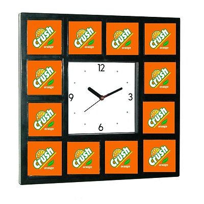 retro Orange Crush Clock sign promo around the Clock with 12 surrounding images