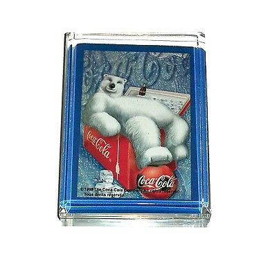 Coke Coca-Cola Polar Bear Acrylic Desk Top Paperweight