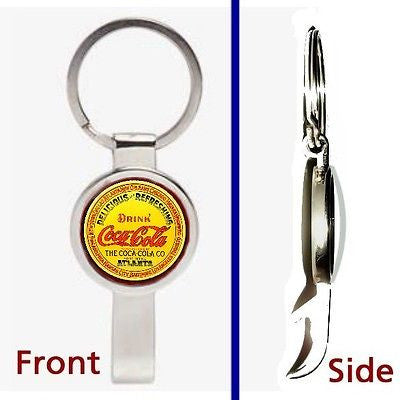 classic vintage Coke Coca-Cola Pendant or Keychain silver secret bottle opener , Openers - n/a, Final Score Products