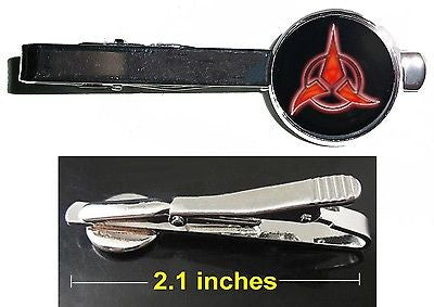 Star Trek Klingon Tie Clip Clasp Bar Slide Silver Metal Shiny