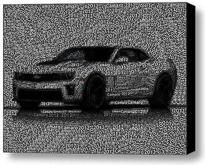 2012 Chevy Chevrolet Camaro Word Mosaic Framed 9X11 Limited Edition Art