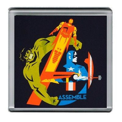 Assemble Avengers Hulk Capt. America Iron Man Coaster 4 X 4 inches