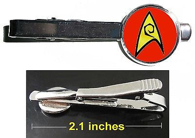 Star Trek red Engineering emblem Tie Clip Clasp Bar Slide Silver Metal Shiny