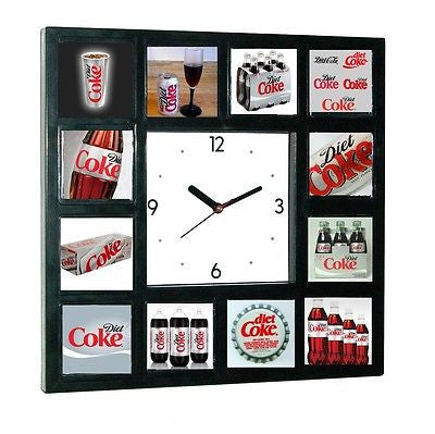 Diet Coke Can Bottle Diner Sign clock with 12 pics