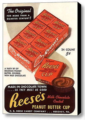 Framed Reese's Peanut Butter Cups Vintage Ad Art Print Limited Edition with COA , Hershey & Reese's - n/a, Final Score Products