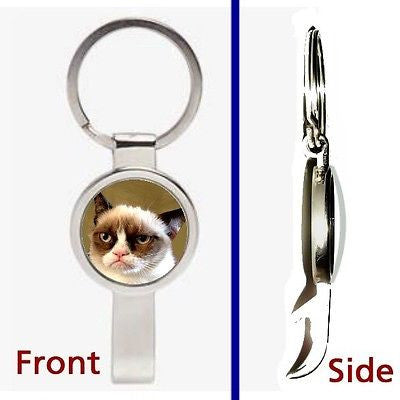 A Grumpy Cat Pennant or Keychain silver tone secret bottle opener no tard