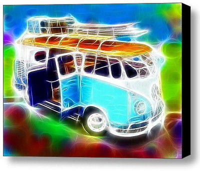 Framed VW Bus Splitty Volkswagen Van 9X11 inch Limited Edition Art Print w/COA