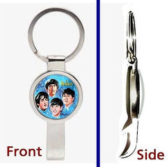 The Beatles 1964 Lunch Box Pennant or Keychain silver tone secret bottle opener , Novelties - n/a, Final Score Products