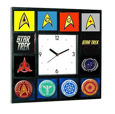 Star Trek Star Fleet Academy Academy Symbols Emblems Clock with 12 pictures