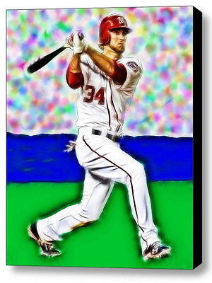 Framed 9X11 Nationals Bryce Harper Connects Limited Edition Art Print w/COA , Baseball-MLB - n/a, Final Score Products