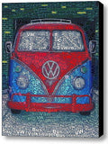 Volkswagen VW Bus Van Word Mosaic wild Framed 9X11 Limited Edition Art w/COA , Volkswagen - n/a, Final Score Products