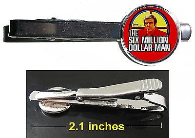 The Six Million Dollar Man Steve Austin Tie Clip Clasp Bar Slide Silver Metal