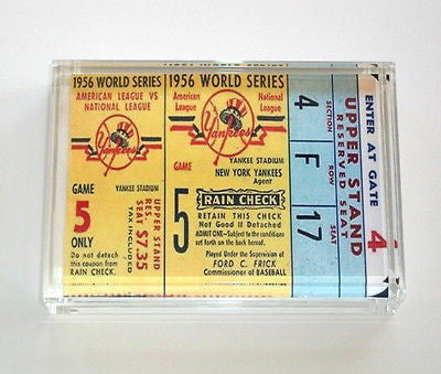 NY Yankees World Series Ticket Perfect Game Paperweight , Baseball-MLB - n/a, Final Score Products