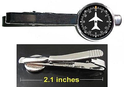Airplane Airline Pilot Cockpit Gauge Tie Clip Clasp Bar Slide Silver Metal Shiny , Private Aircraft - n/a, Final Score Products