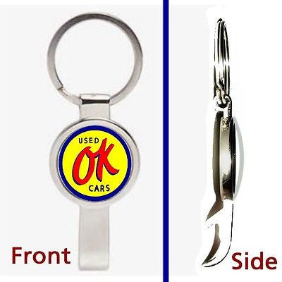 retro OK Used Cars sign Pennant or Keychain silver tone secret bottle opener