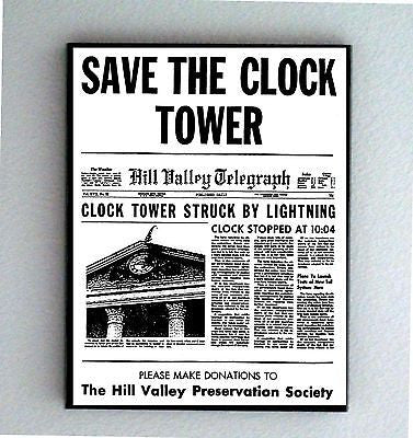 Marty McFly hand out Back To The Future SAVE CLOCK TOWER framed prop display