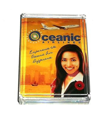 ABC tv show LOST Oceanic Airlines Ad Acrylic Paperweight