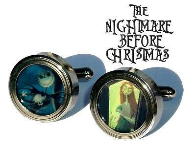 Nightmare Before Christmas Jack and Sally Cuff Links silver stainless steel , Other - n/a, Final Score Products