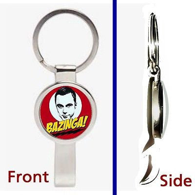 The Big Bang Theory Bazinga Pennant or Keychain silver tone secret bottle opener , Keyrings - n/a, Final Score Products