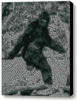 Bigfoot Yeti Sasquatch Word Mosaic WILD Framed 9X11 Limited Edition Art w/COA , Other - n/a, Final Score Products