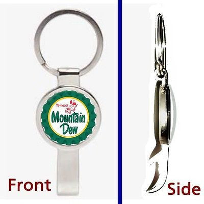 retro classic Mountain Mt. Dew Pennant Keychain silver tone secret bottle opener