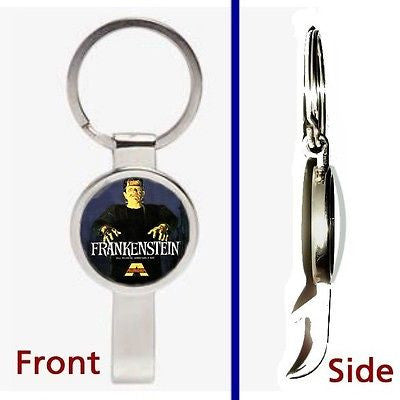 Frankenstein Aurora Monster Pendant or Keychain silver tone secret bottle opener