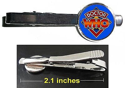 Dr. Who Tie Clip Clasp Bar Slide Silver Metal Shiny
