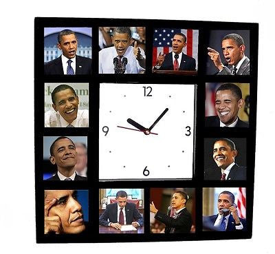 The famouse Faces of Barack Obama Clock with 12 action pictures