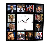 The famouse Faces of Barack Obama Clock with 12 action pictures , 2009-2013 Barack Obama - n/a, Final Score Products