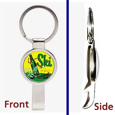 retro Ski Cola Soda Pop Pennant or Keychain silver tone secret bottle opener
