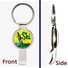 retro Ski Cola Soda Pop Pennant or Keychain silver tone secret bottle opener , Other - Ski, Final Score Products